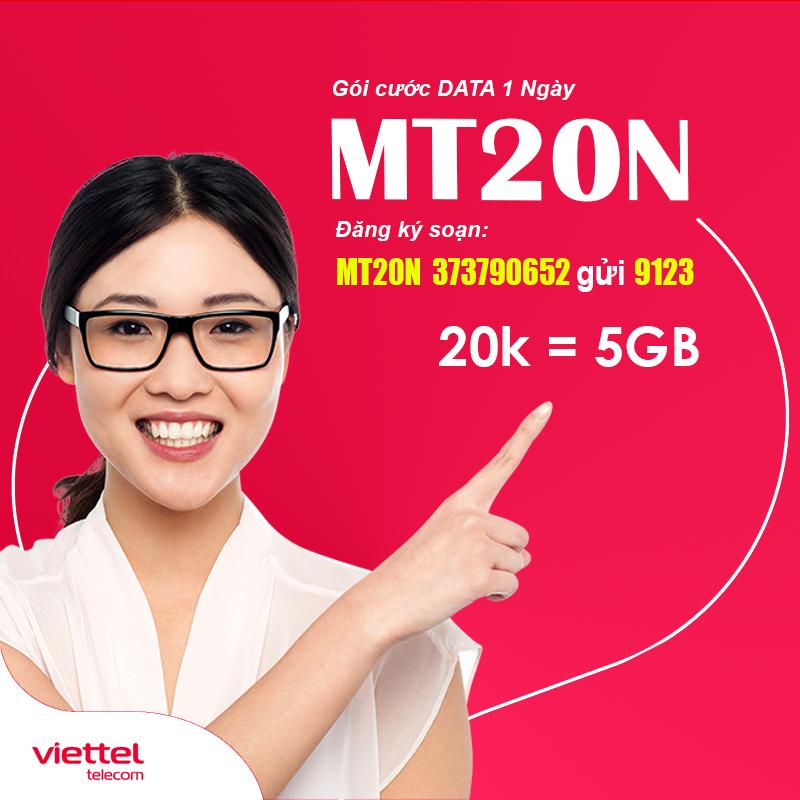 Đăng ký gói MT20N Viettel khuyến mãi 5GB dùng 1 ngày chỉ 20.000đ