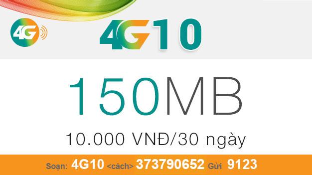 Cách đăng ký gói 4G10 của Viettel nhận ngay 150MB giá chỉ 10.000đ