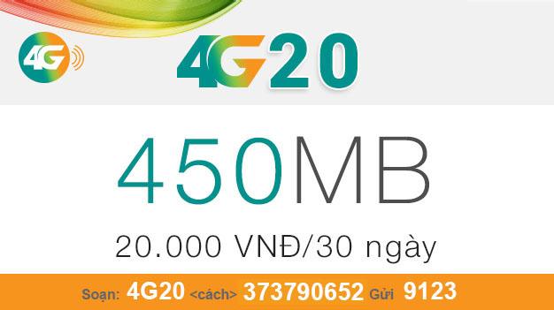 Cách đăng ký gói 4G20 của Viettel nhận ngay 450MB giá chỉ 20.000đ