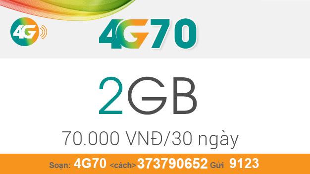 Cách đăng ký gói 4G70 Viettel nhận ngay 2GB giá chỉ 70.000đ/tháng