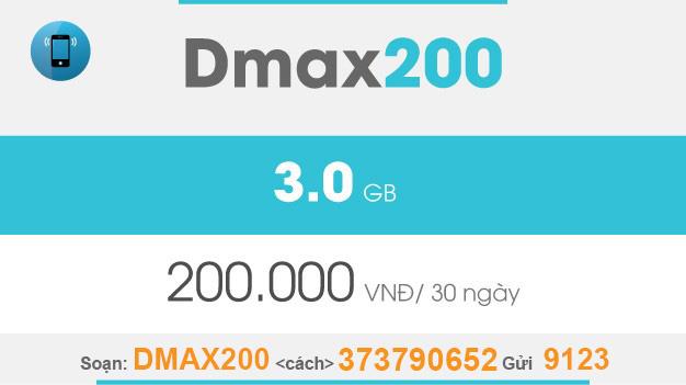 Cách đăng ký Dmax200 Viettel giá 200.000đ có ngay 3GB dùng trọn gói