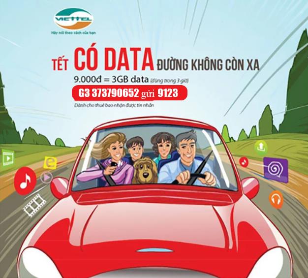 Đăng ký gói G3 Viettel khuyến mãi 3GB Data sử dụng trong 3 giờ giá 9.000đ