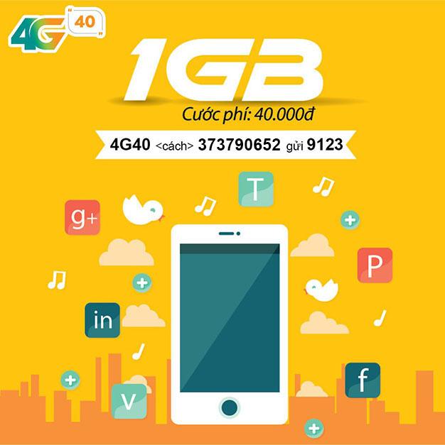 Đăng ký 4G40 Viettel dễ dàng có 1GB