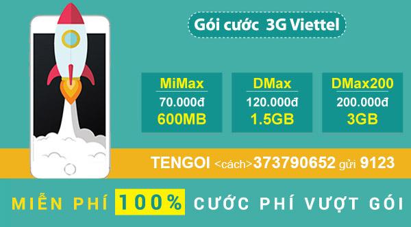 Bảng thông tin và giá các gói cước 3G Viettel mới nhất, đầy đủ nhất 2018