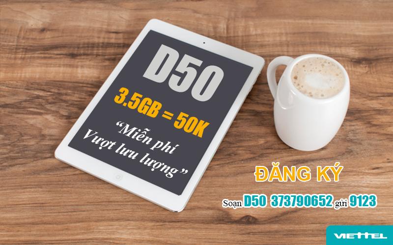 Gói D50 Viettel ưu đãi 3.5GB Data mỗi tháng