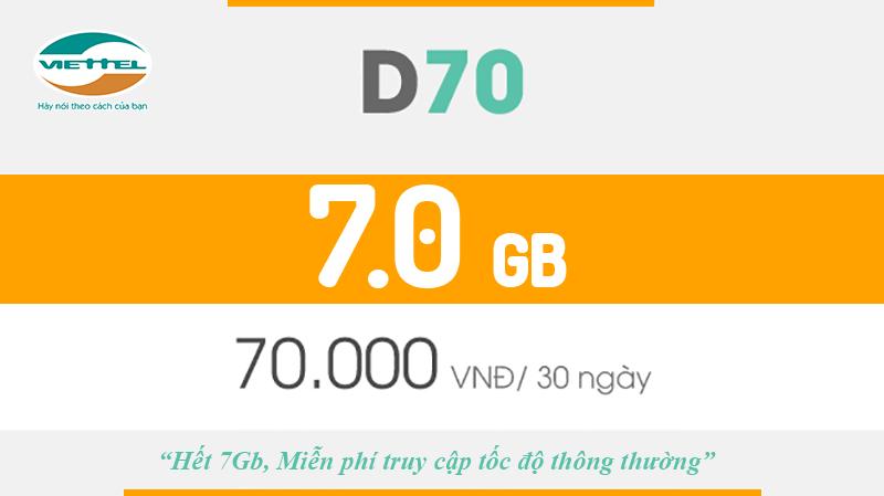Gói D70 Viettel cho sim Dcom, mỗi tháng 7GB
