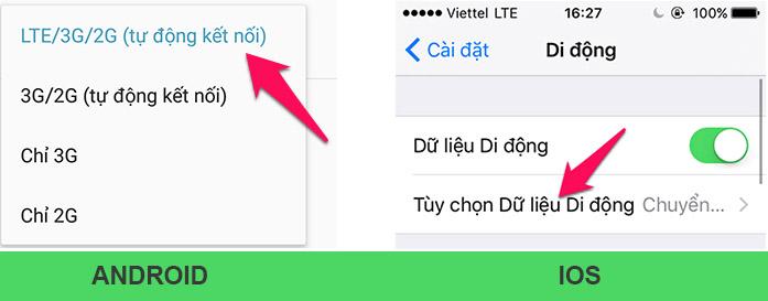 Tùy chọn dữ liệu 4G LTE để dùng gói 3G Viettel 1 ngày