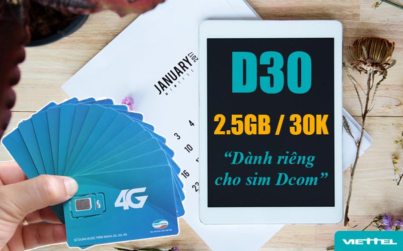 Gói D30 Viettel ưu đãi 2.5GB Data mỗi tháng