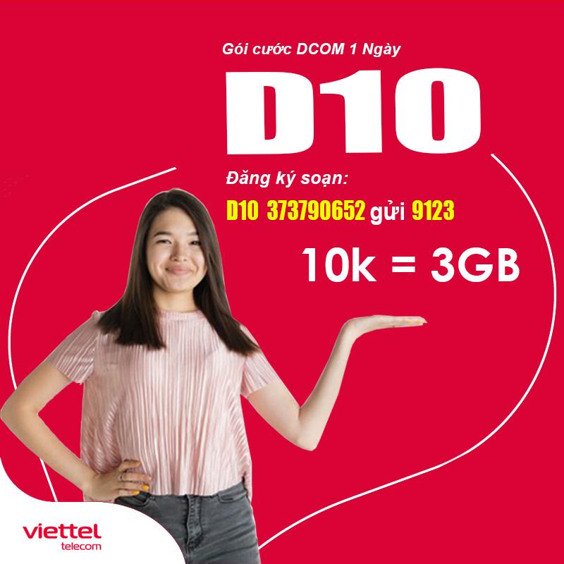 Đăng Ký Gói D10 Viettel Khuyến Mãi 3GB Data Giá Chỉ 10.000đ/Ngày