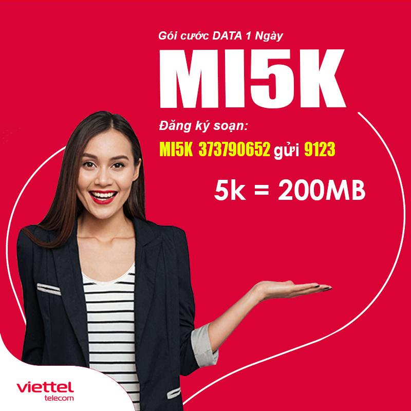 Đăng ký gói MI5K Viettel giá 5.000đ có ngay 200MB dùng 24h
