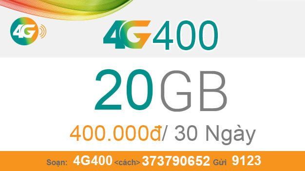 Đăng ký gói 4G400 Viettel ưu đãi đến 20GB Data giá 400.000đ/tháng