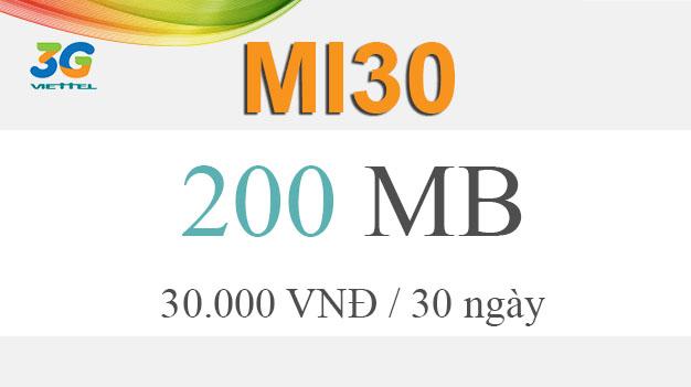 Cách đăng ký gói cước Mi30 Viettel giá 30.000đ có ngay 200MB