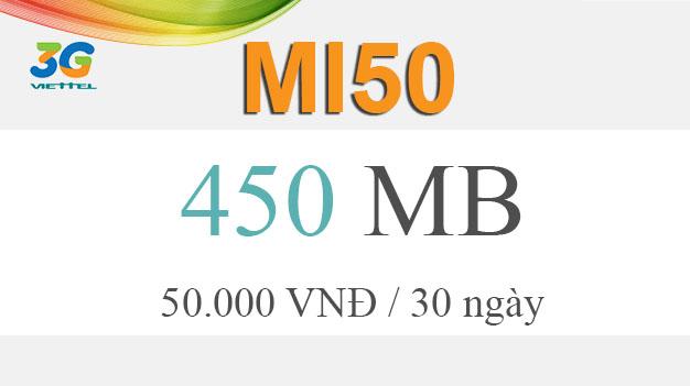 Cách đăng ký gói cước Mi50 Viettel giá 50.000đ có ngay 450MB