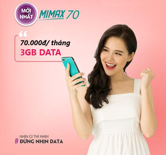 Đăng ký gói Mimax70 Viettel ưu đãi 3GB Data giá chỉ 70.000đ/tháng