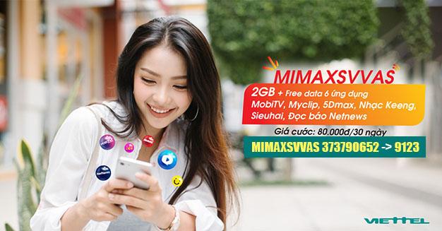 Đăng ký gói MIMAXSVVAS Viettel cho Sinh Viên - Học Sinh 2GB/80.000đ