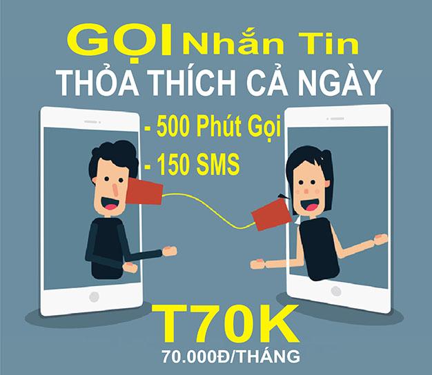 Đăng ký gói T70k Viettel ưu đãi 500 phút gọi + 150 tin nhắn nội mạng