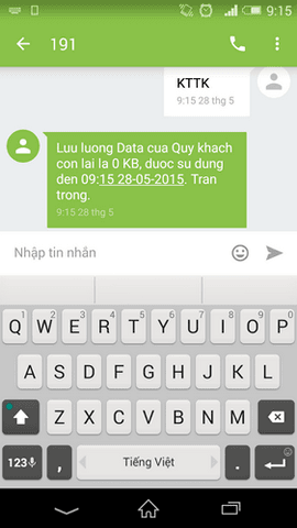 Tin nhắn phản hồi thông tin gói cước từ hệ thống