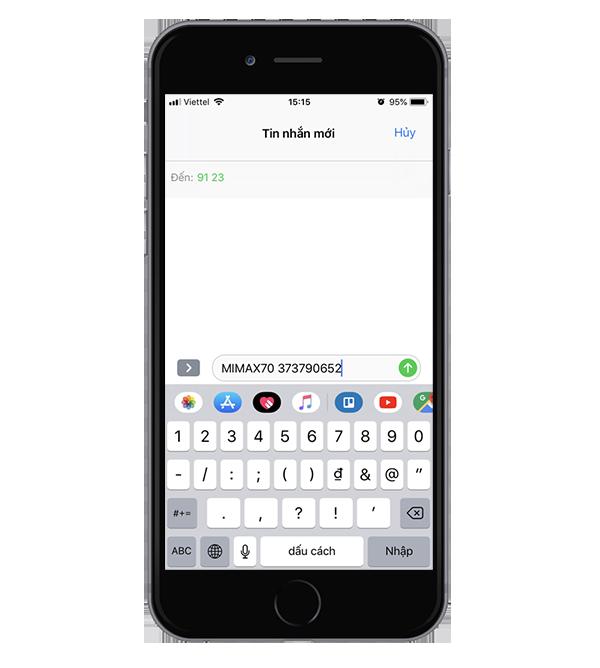 Soạn tin nhắn đăng ký Mimax70 Viettel