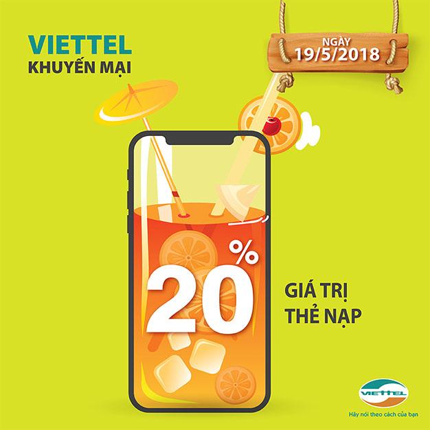 Viettel khuyến mãi 20% giá trị thẻ nạp cho thuê bao trả trước 19/05/2018