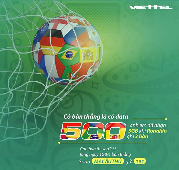 Khuyến mãi tặng ngay 1GB/1 bàn thắng trong dịp World Cup 2018