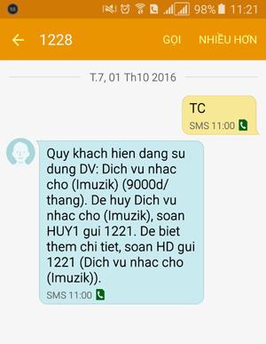 Tin nhắn phản hồi dịch vụ Viettel thuê bao đang sử dụng