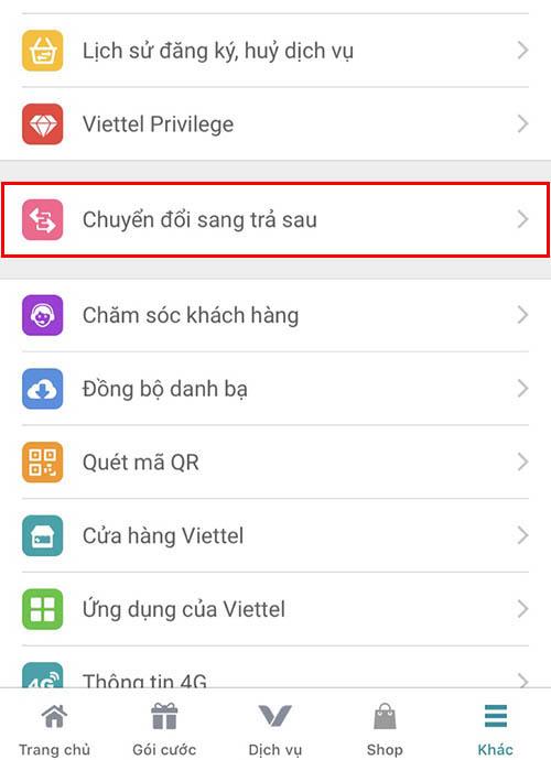 Chuyển từ trả trước sang trả sau bằng ứng dụng My Viettel