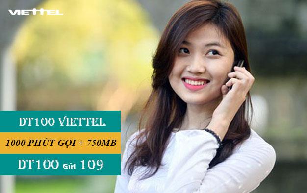 Đăng ký DT100 Viettel miễn phí 1000 phút gọi nội mạng + 750MB