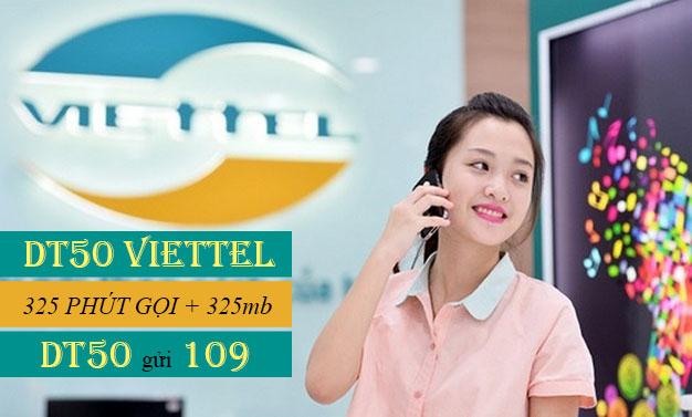 Đăng ký DT50 Viettel ưu đãi 325 phút nội mạng + 325MB giá 55.000đ