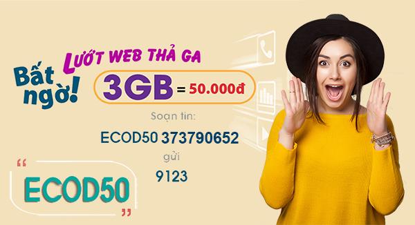 Gói ECOD50 Viettel ưu đãi khủng giá siêu rẻ chỉ 50.000đ