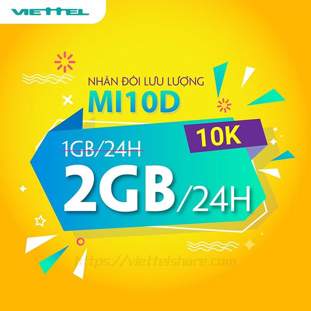 Gói MI10D Viettel nhân đôi Data từ 1GB lên 2GB