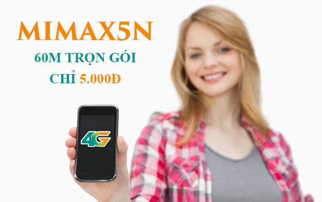 Đăng ký gói Mimax5N Viettel có ngay 60MB trọn gói giá 5.000đ/ngày