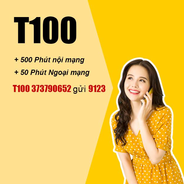 Đăng ký T100 Viettel ưu đãi 500 phút gọi nội mạng + 50 phút ngoại mạngĐăng ký T100 Viettel ưu đãi 500 phút gọi nội mạng + 50 phút ngoại mạng