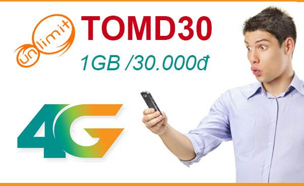 Đăng ký gói TOMD30 Viettel ưu đãi 1GB chỉ 30.000đ không giới hạn thời gian