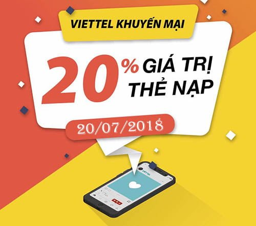 Viettel khuyến mãi tặng 20% giá trị thẻ nạp duy nhất 20/07/2018