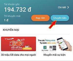 Chuyển tiền Viettel bằng ứng dụng My Viettel