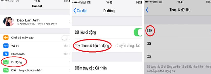 Chuyển từ 4G về 3G Viettel trên điện thoại chạy Iphone