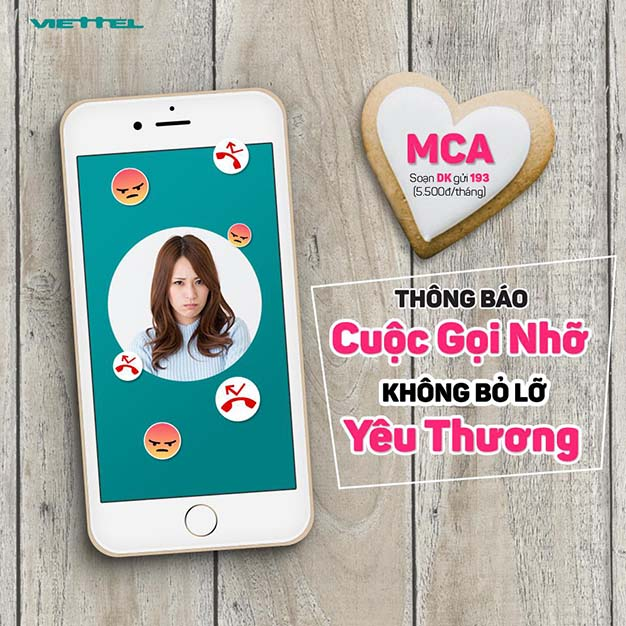 Cách đăng ký dịch vụ thông báo cuộc gọi nhỡ MCA Viettel 5.500đ/tháng