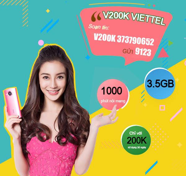 Đăng ký gói V200K của Viettel ưu đãi 1000 phút nội mạng + 3.5GB Data