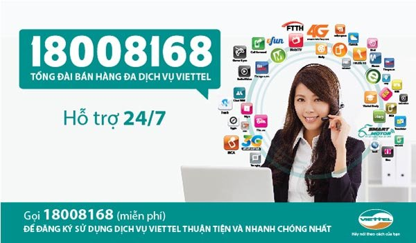 Dịch vụ hỗ trợ Viettel Telecom chuyên nghiệp : 1800 8168 (miễn phí)