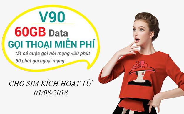 Viettel ưu đãi đặc biệt gói V90 cho sim kích hoạt từ ngày 01/08/2018
