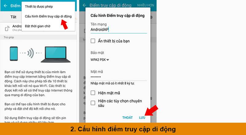 Các bước phát Wifi từ điện thoại samsung cho thiết bị khác b2