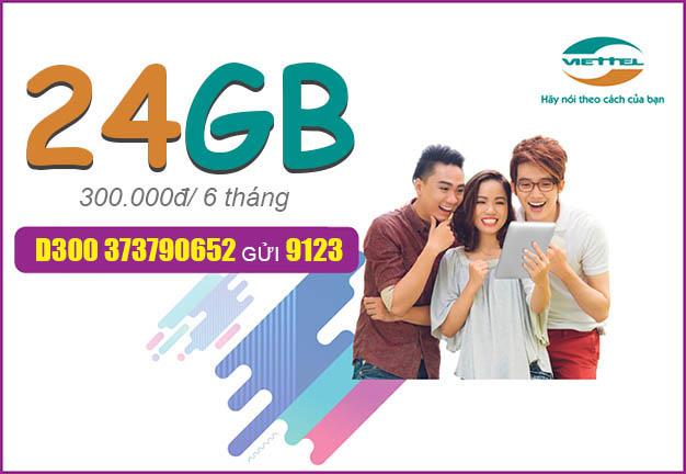 Đăng ký gói D300 Viettel cho thuê bao Dcom ưu đãi 24GB Data/6 tháng