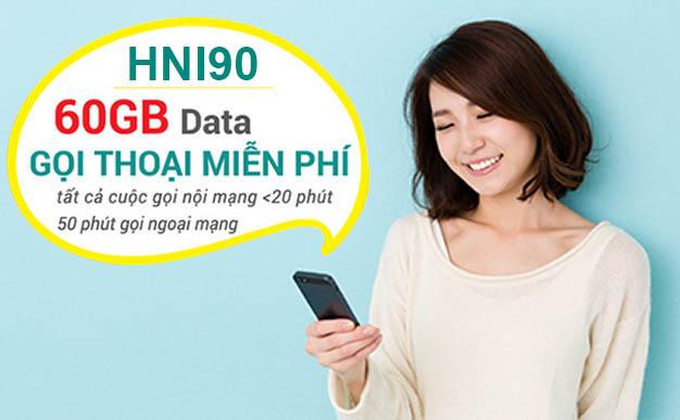 Đăng ký gói HNI90 Viettel ưu đãi 60GB Data + Gọi thoại giá chỉ 90.000đ