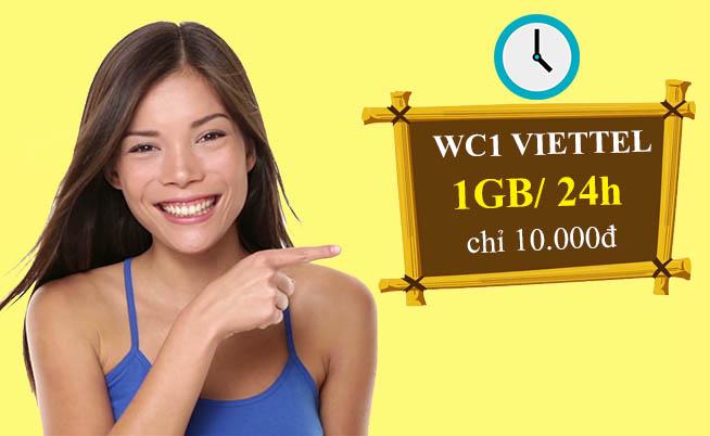 Đăng ký gói WC1 Viettel ưu đãi 1GB dùng trong 24h giá rẻ chỉ 10.000đ