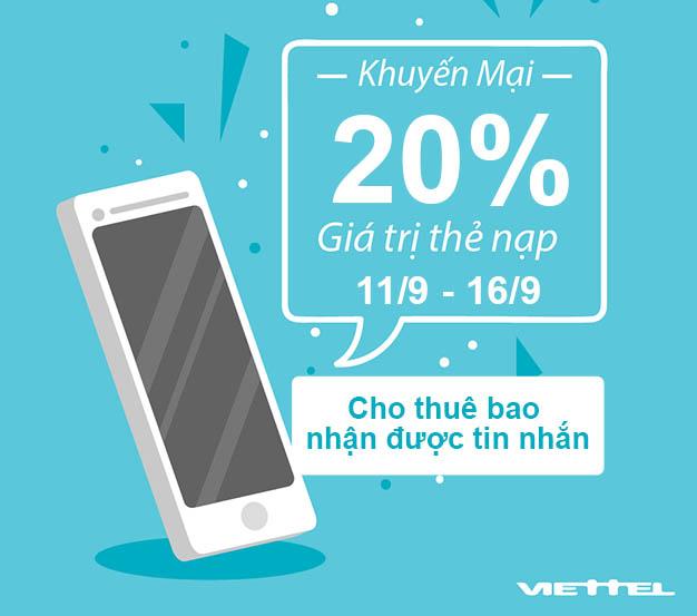 Thông tin chi tiết khuyến mãi Viettel tặng 20% từ 11-16/09/2018