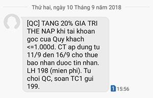 Viettel khuyến mãi 20% từ 11-16/09/2018 cho thuê bao nhận tin nhắn
