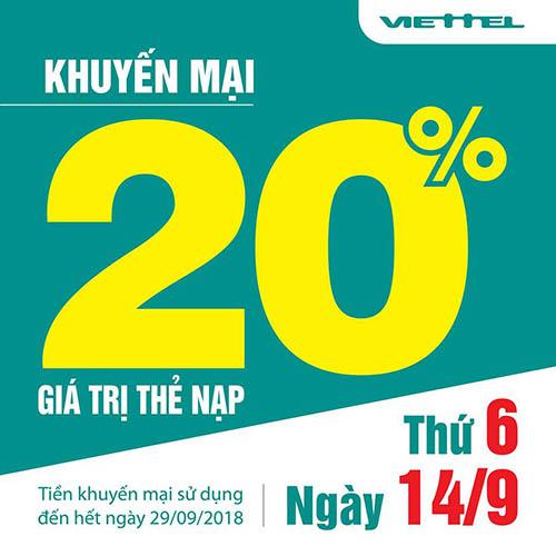 Viettel khuyến mãi tặng 20% giá trị thẻ nạp cho thuê bao ngày 14/09/2018