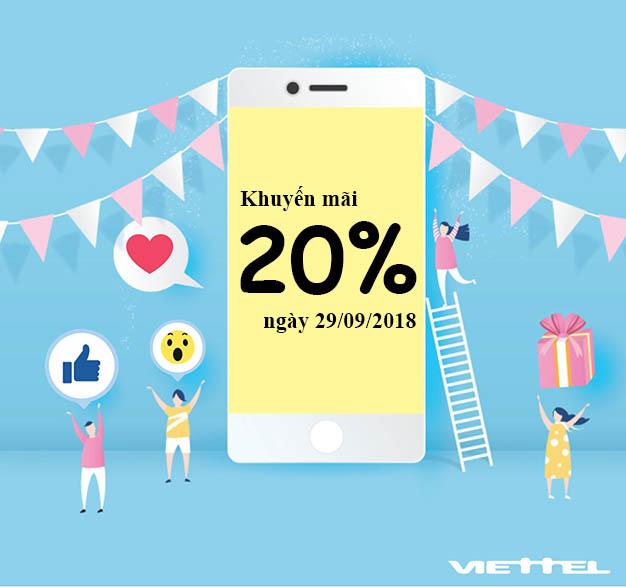 Viettel khuyến mãi 20% giá trị thẻ nạp rộn ràng cuối tháng 29/09/2018