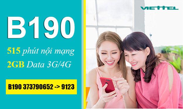 Đăng ký gói B190 Viettel ưu đãi 2GB Data + 515 phút gọi nội mạng