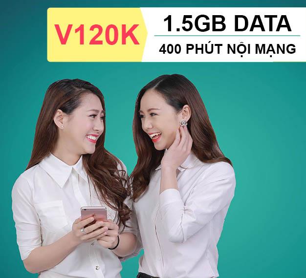 Đăng ký gói V120K Viettel ưu đãi ngay 400 phút nội mạng + 1.5GB Data